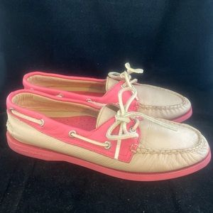 Sperry Topsider Boat Shoes Pink & Cream Color (8)
